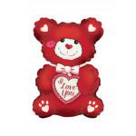 Шар (25''/64 см) Фигура, Мишка с сердцем, Красный, 1 шт.